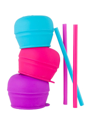 Boon Snug Straw Lids, for Girl, 3 Pieces, Pink/Purple/Blue