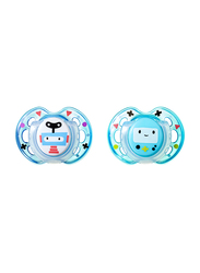 Tommee Tippee Closer to Nature Fun Style Soother for Boy, 0-6 Month, Robot, 2-Pieces, Blue