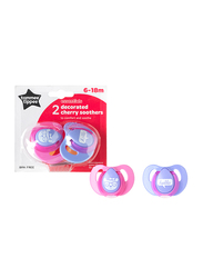 Tommee Tippee Essentials Decorated Latex Cherry Soothers for Girl, 2-Pieces, Pink Purple