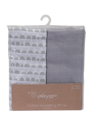 Playgro Baby Loves Playgro Muslin Wrap, 2 Pieces, Scallop Grey