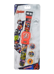 Marvel Avengers Digital Watch for Boys, with 4 Disks Shooter, 3+ Years, Plastic, One Size, Red