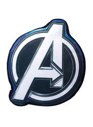 Marvel Avengers Logo 3D Shaped Printed Kids Cushion, 35cm, Blue/White