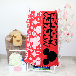Disney Mickey Mouse Cotton Jacquard Towel for Boys, 60 x 120cm, Red
