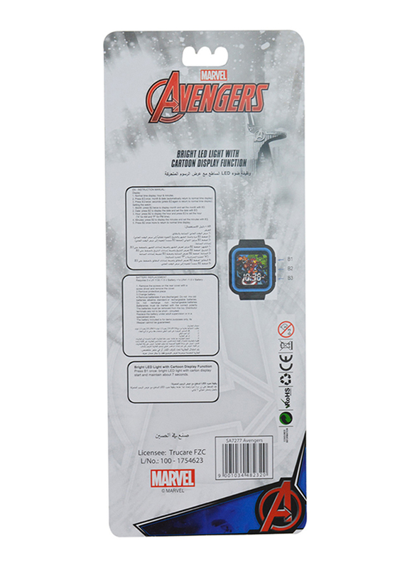 Marvel Avengers Digital Watch for Boys, with Bright LED Light Cartoon Display, 3+ Years, Plastic, One Size, Multicolor