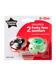Tommee Tippee Essentials Funky Face Soother for Boy, Tiger, 2-Pieces, Black/Green