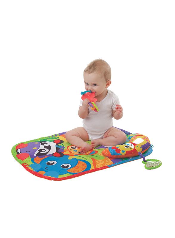 Playgro Zoo Play Time Tummy Time Mat & Pillow, White/Green/Orange/Purple/Blue/Red