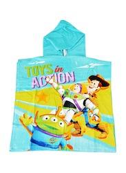Disney Toy Story Hooded Poncho Bath Towel for Boys, 60 x 120cm, Blue