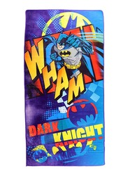 Warner Bros DC Comics Batman Microfibre Beach Bath Towel for Boys, 55 x 110cm, Blue/Yellow