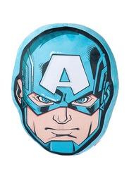 Marvel Captain America 3D Shaped Printed Kids Cushion, 35 x 35cm, Blue
