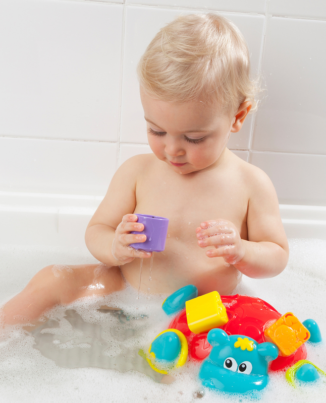 Playgro Sort N Stack Floating Hippo Bath Toy for Kids, Blue/Yellow/Green/Purple