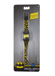 Warner Bros Batman Digital Watch for Boys, Silicone Strap, with 3D Rubber Head and Colorful Flashing Light, 3+ Years, Plastic, One Size, Multicolor