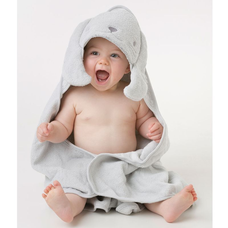 Playgro Home Bunny Hooded Towel for Kids, Grey
