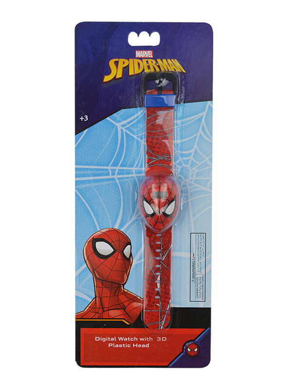 Marvel Spiderman Digital Watch for Boys, with Voice and 3D, 3+ Years, Plastic, One Size, Red