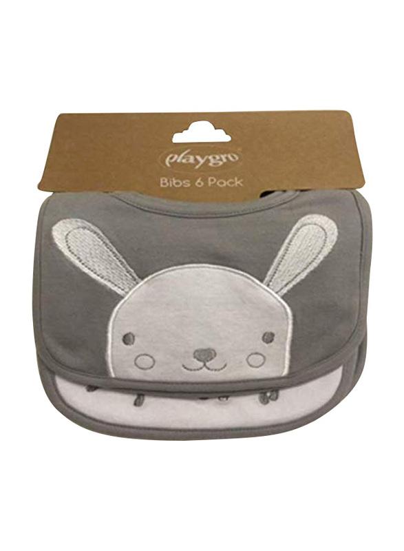 Playgro Home Bunny Bibs, 6 Pieces, Grey