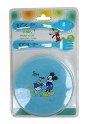 Disney Bowl/Spoon/Fork Baby Feeding Set, 3 Pieces, Mickey Mouse, Blue