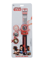 Lucas Star Wars Watch for Boys, with 4 Discs Shooter, 3+ Years, One Size, Red