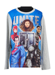 Warner Bros Justice League Movie Long Sleeve T-Shirt for Boys, 7-8 Years, Grey