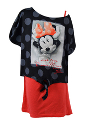 Disney Minnie Short Sleeve Top for Senior Girls, 8-9 Years, Black/Red