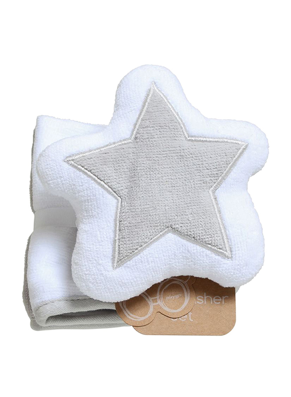 Playgro Home Star Mitt and Face Washer Towel for Kids, Grey/White