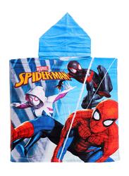 Marvel Spiderman Hooded Poncho Bath Towel for Boys, 60 x 120cm, Blue/Red