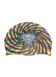 Warner Bros Superman Swim Cap for Boys, Silicone, Free size, Multicolour