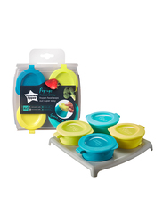 Tommee Tippee Explora Pop Up Freezer Pots & Tray Unisex, 4X60ml, Green/Blue