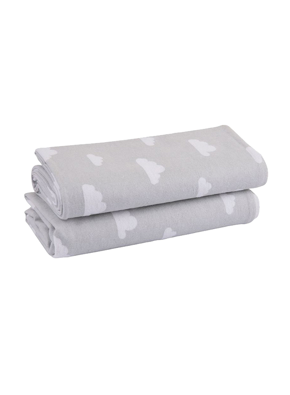 Playgro Baby Loves Playgro Flannel Wrap, 2 Pieces, Cloud Grey