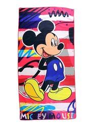 Disney Mickey Mouse Microfibre Beach Bath Towel for Boys, 55 x 110cm, Multicolour