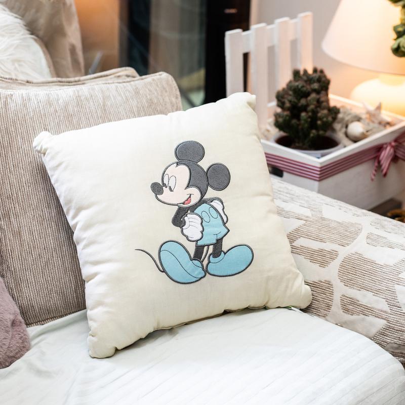 Disney Mickey Digitally Printed & Embroidery Kids Cushion, 42 x 42cm, White/Blue/Black