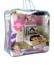 Nickelodeon Dora The Explorer Toddler Bed Comforter Set, 165 x 230cm, 4 Piece, Multicolour