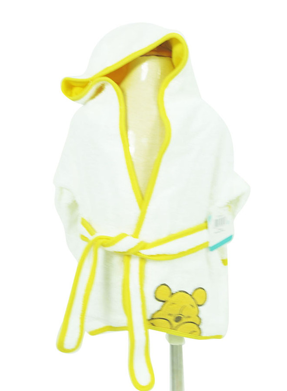 Disney Winnie The Pooh Cover Up Hooded Terry Robe for Kids, 6-36 Months, White/Yellow