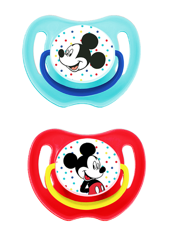 Disney Fun Style Baby Soother Pacifier, 0+ Months, 2 Pieces, Mickey Mouse, Multicolor
