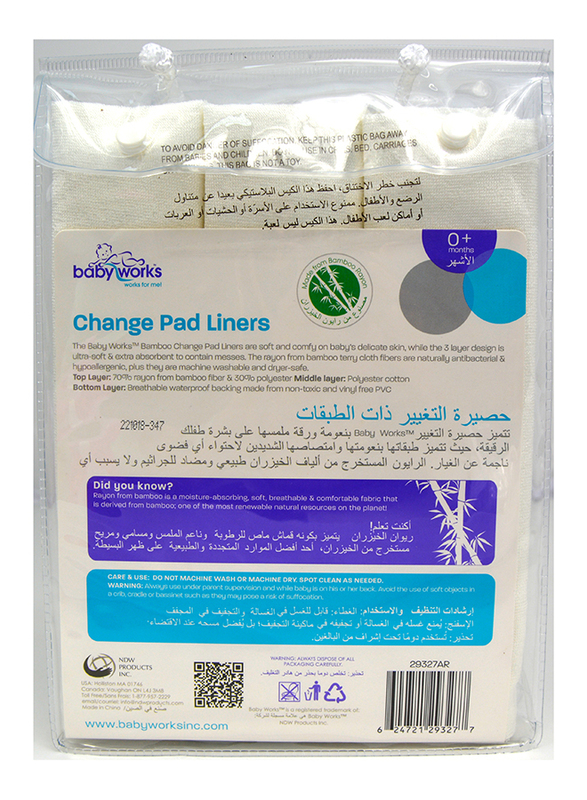 Babyworks Bamboo Change Pad Liners, White