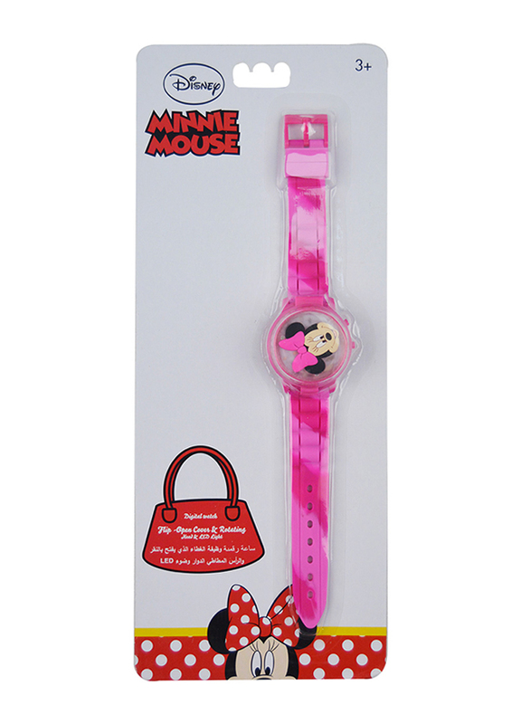 Disney Minnie Rotating Flip-Top Digital Watch for Girls, with 3D Rubber Character and Pressing Flashing Light, 3+ Years, Plastic, One Size, Multicolor