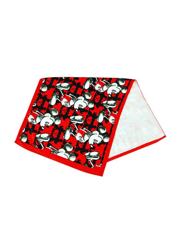 Disney Mickey Mouse Cotton Jacquard Towel for Boys, 60 x 120cm, Red/Black/White