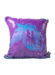 Disney Frozen Two Way Sequined Kids Cushion, 40 x 40cm, Blue/Purple
