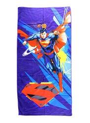Warner Bros DC Comics Superman Microfibre Beach Bath Towel for Boys, 55 x 110cm, Blue/Red