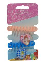 Disney Princess Hair Elastics Bands Set for Girls, 2-Pieces, Pink/Blue