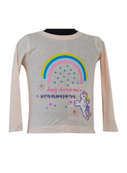 Hasbro MLP Rainbow Long Sleeve T-Shirt for Infant Girls, 6-12 Months, Beige
