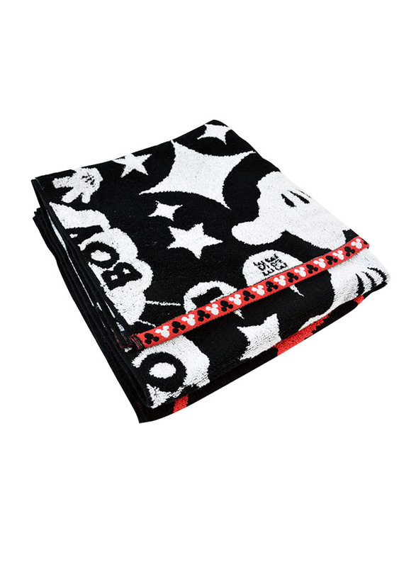 Disney Mickey Mouse Cotton Jacquard Towel for Boys, 60 x 120cm, Black/White/Red