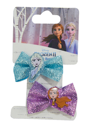Disney Frozen II Bow Clips Set for Girls with Charm, 2-Pieces, Blue/Purple