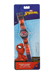 Marvel Spiderman Digital Watch for Boys, with Colourful Changing Lights in Strap, 3+ Years, Plastic, One Size, Red