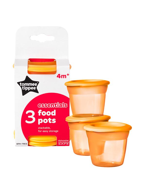 Tommee Tippee Essentials Food Pots 3-Pieces Unisex, Orange