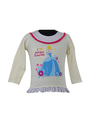 Disney Princesses Long Sleeve Top for Infant Girls, 6-12 Months, Off White