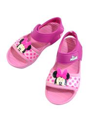 Disney Minnie Mouse Flat Sandals for Girls, 30 EU, Fuchsia