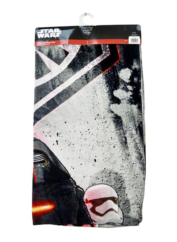 Lucas Star Wars Beach Bath Towel for Boys, 70 x 140cm, White/Black