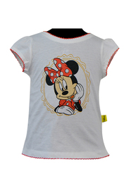 Disney Minnie Short Sleeve Top for Infant Girls, 18-24 Months, White