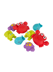 Playgro Fully Sealed Floating Sea Friends for Kids, Red/Purple/Green/Blue