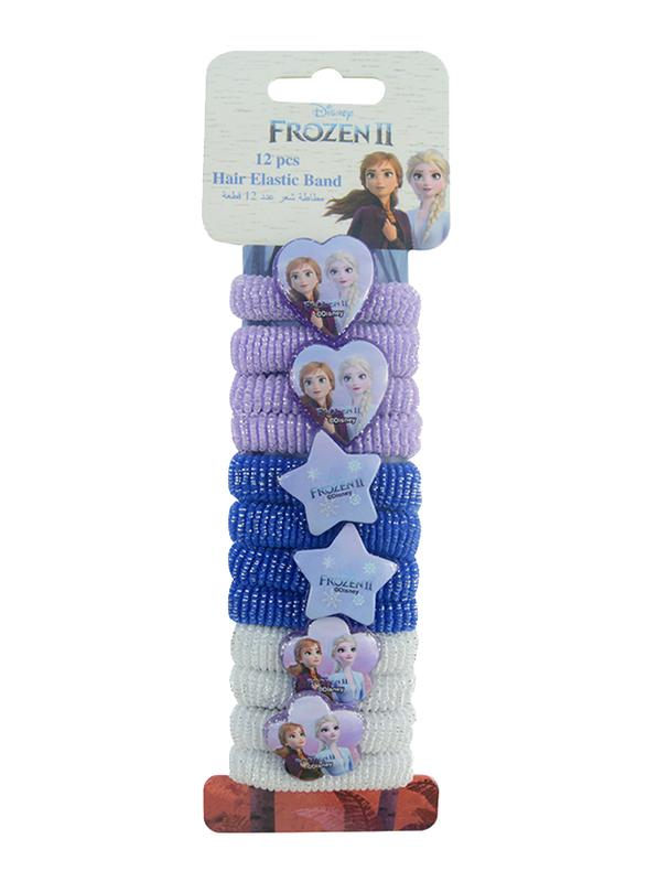 Disney Frozen II Hair Elastics Bands Set for Girls, 12-Pieces, Blue/Purple/White