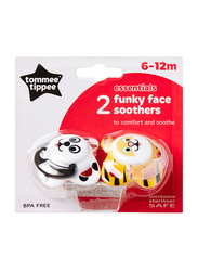 Tommee Tippee Essentials Funky Face Soother for Girl, Frog, 2-Pieces, Yellow/White